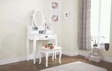 ^30% LUMBERTON DRESSING TABLE SET MAKEUP DESK 3 DRAWERS & PADDED STOOL SEAT