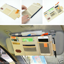 Universal Auto Sun Visor Shield Board Organizer Beige Storage Holder Phone Bag