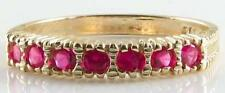 UNUSUAL RARE 9K GOLD VICTORIAN RIBBED RICH RUBY ET RING