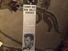 B2-2 ephemera 1963  picture article singer tommy roe
