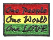 ONE PEOPLE, ONE WORLD, ONE LOVE rasta colors IRON-ON PATCH **FREE SHIPPING**