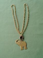 """36"""" Gold Tone Oval Chain Link Elephant Pendant Necklace Copper Rings Good Luck"""