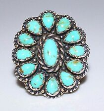 CAROLYN POLLACK Relios Co Sterling & Turquoise Petit Point Cluster Ring Size 7