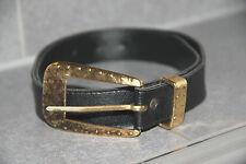 schwarzer Kunstledergürtel Gürtel Gr 38 3cm goldene Schnalle Niete