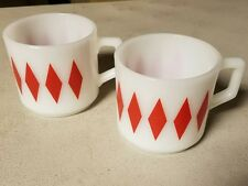 Vintage Fire King Red Diamond Pattern Mugs- Set of 2