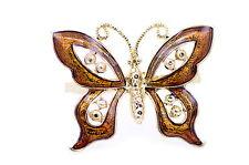 Stile Vintage Oro e arancio farfalla Double Finger Ring