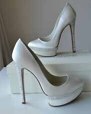 NEW BENJAMIN ADAMS CAMERON  Ivory silk Swarovski  Bridal Shoes UK  8  / EUR 41