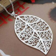 New Wholesale  NF 925 Silver Plated Womens Filigree Leaf Pendant