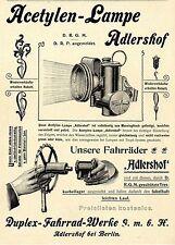 Duplex Fahrrad Werke Adlershof bei Berlin Acetylen-Lampe Tretkurbellager XXL1899