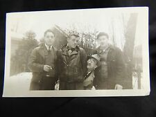 VTG Photograph Men Outdoor 40's 50's Odd Unique Smoking Greasers Winter Snow Hat