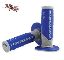 Pro Grip Progrip 801 Grips Grey Blue Motocross Enduro Half Waffle Soft Density