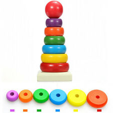 Wooden Stacking Up Nest Rainbow Tower Ring Learning educational Baby Kids Toy