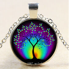 Photo Cabochon Glass Silver charms Pendant Necklace(Rainbow life tree)