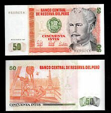 BANKNOTE WORLD  PERU IN S.AMERICA, 1 PCE OF 50 INTIS 1987, P-131b, FROM BUNDLE