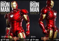 "Hot Toys Marvel Iron Man Mark III Mk 3 DIECAST 1/6 Scale 12"" Figure In Stock USA"