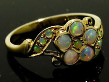 C453 Lovely Genuine 9K SOLID Yellow Gold NATURAL OPAL Blossom FLORAL Ring size O