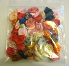 LARGE Satin Ribbon Rose - 20mm.  Packet of 50!  Asst'd Col's FREE P&P **NEW**