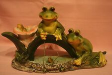 Frog Couple Fishing on Leaf Bridge Garden Frogs Statue