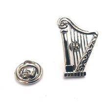 Silver Harp Lapel Pin Badge Irish Ireland Music Musical Instrument Musician New