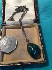 Vintage Green Malachite Nugget Pendant On Silver Toned Chain