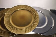 THRESHOLD Set of 4 Silver/Gold Plate Chargers NEW Tags Decorative Table Accents