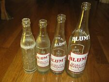 4 pcs Vintage Blum's 1 PT. & 8 OZ  7 OZ Quality Bev Galena Illinois soda bottle