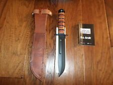 U.S MILITARY MARINE CORPS KA-BAR KNIFE & LEATHER SHEATH KABAR USMC COMBAT KNIFE