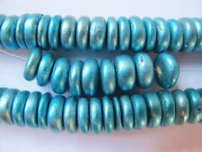 20 10mm x 3mm wood wooden rondelle beads metallic aqua blue