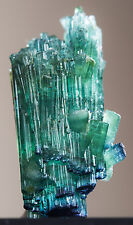 TOP ! GEMMY PARAIBA BLUE TOURMALINE CRYSTALS CLUSTER - 19 CTS, FROM AFGHANISTAN