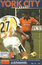 Football Programme - York City v Barnet - Div 3 - 2000
