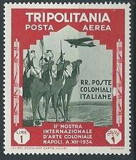1934 TRIPOLITANIA POSTA AEREA ARTE COLONIALE 1 LIRA MNH ** - K096