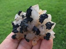 Black Manganese on Quartz Crystal Cluster from Diamond Hill Mine South Carolina