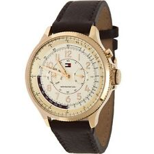 ..TOMMY HILFIGER TH1790733 BROWN CHRONO LEATHER STRAP WATCH