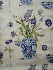 "SANDERSON CURTAIN FABRIC  ""A Painter's Garden""  3.4 METRES AMETHYST AND INDIGO"