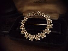 Vintage Jewellery Large Round Crystal &  Seed Pearl Brooch Gold Plated.