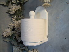 White vertical wood toilet paper holder with shelf. JLJ Original Design
