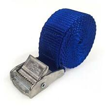 2 Buckled Straps 25mm Cam Buckle 1.5 meters Long Heavy Duty Load Securing Blue