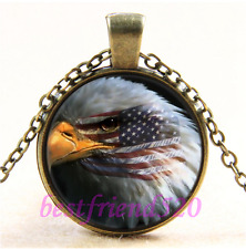 Vintage Eagle with American Flag Cabochon Glass Bronze Pendant Necklace#L22