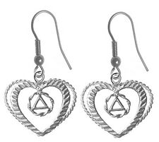 Sterling Silver Alcoholic Anonymous AA Symbol Heart Earrings            711-6