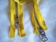 "Vintage Heavy Duty METAL Dual-Separating Yellow 28"" Long Zipper by YKK"