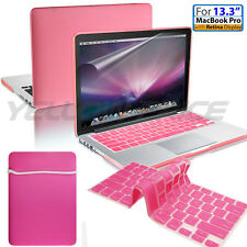Pink 13 Macbook Pro w/Retina Soft Touch Hard Case Sleeve Bag Film Keyboard Cover