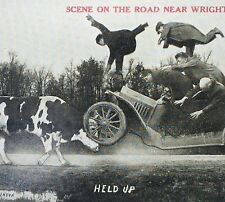 1915 Car Automobile Accident AUTO v COW Cattle Photo Postcard WRIGHTSTOWN WIS