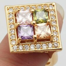 Lovely Colorful Square Cubic Zircon Gold Plated Lady Jewelry Rings Size 8