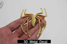 Golden 3D Spider Sticker Car Pickup Decorative Decor Metal Badge Decal For Ford