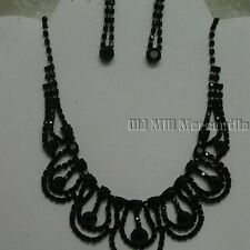 black Victorian Vintage Downton style beaded necklace with earrings