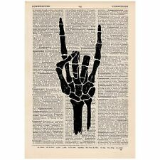 I Love You Hand Skeleton Dictionary Print OOAK, Anatomical, Art,Unique,Gift,