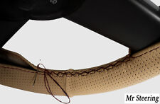 FITS BMW 5-SERIES E34 BEIGE PERFORATED LEATHER STEERING WHEEL COVER BLACK STITCH