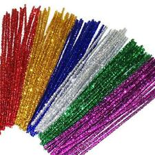 100 Chenille Craft Stems Tinsel Pipe Cleaners CHRISTMAS Mix Colours 30cm x 6mm