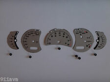 PORSCHE 996 C2 GT3 2002 to 2005 STICK SHIFT SILVER MIL  INSTRUMENT FACE GAGE SET