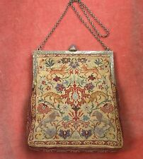 ANTIQUE AUSTRIAN SCENIC PETIT POINT TAPESTRY PURSE BAG STERLING FRAME